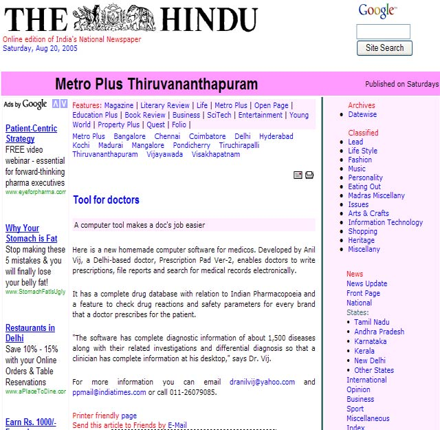 Prescription Pad News on The Hindu Thiruvananthapuram